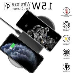 15W Dual Fast Wireless Charger Charging Pad Mat Dock Station