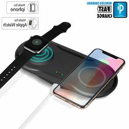 2 In 1 Fast Qi Wireless Charger Charging Dock Pad For Apple