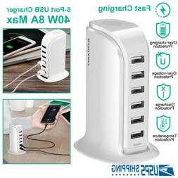 6 Ports USB Charging Station for Multiple Devices iPhone iPa