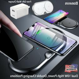 Baseus Double Qi Wireless Charger Pad 10W Charging iPhone XS