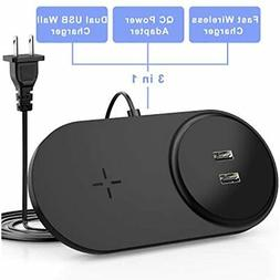 Fast Wireless Charger With Dual USB, 26W Charging Pad Built-