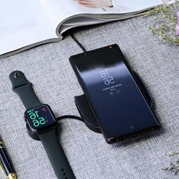 BG_ 2-in-1 Qi Wireless Phone Smart Watch Earphone Charger Do