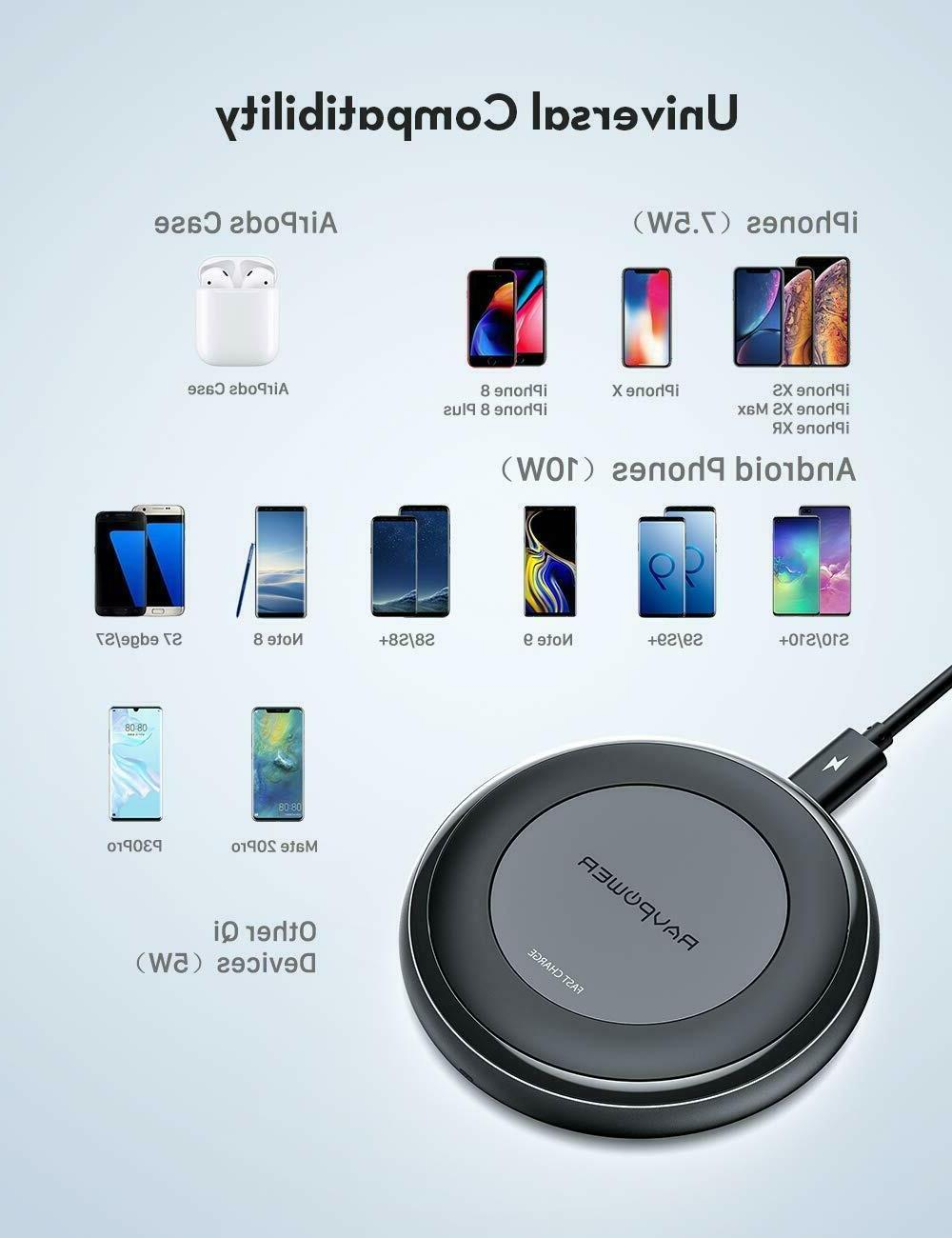10W Fast Wireless Charger Qi Wireless Charging Pad & QC 3.0