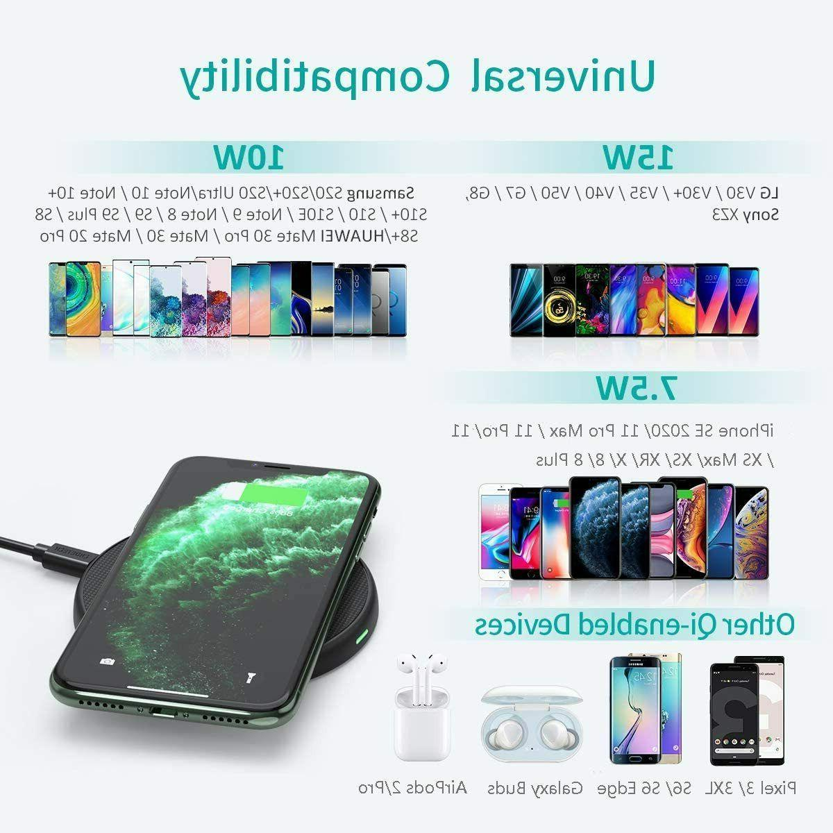 CHOETECH Wireless Charger, 15W Max Fast Pad Adapte