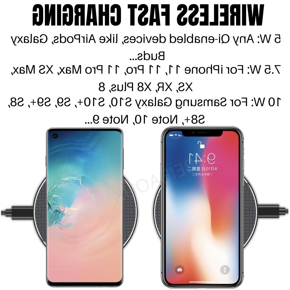 Qi Wireless Charging Pad Dock For iPhone X 11 Android