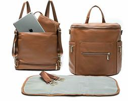 Leather Diaper Bag Backpack by Miss Fong, Diaper Bag with Ch