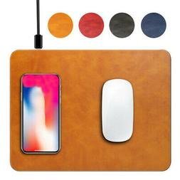 Luxury Qi Wireless Leather Mouse Pad Fast Charging Universal