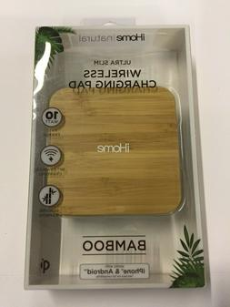 iHome Natural Bamboo Ultra Slim Wireless Charging Pad - Whit