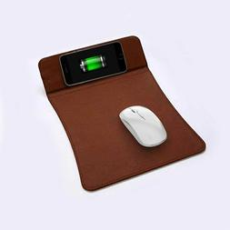 Qi Wireless Charger Charging Mouse Pad Real Leather Mat For