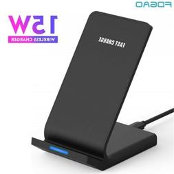US 15W Fast Qi Wireless Charger Charging Dock Pad Stand For