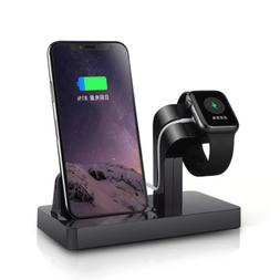 US Charging Dock Pad Stand Bracket 2in1 For Apple Watch 5/4/